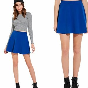 Forever 21 Royal Blue Knit Woven Skater Skirt XS